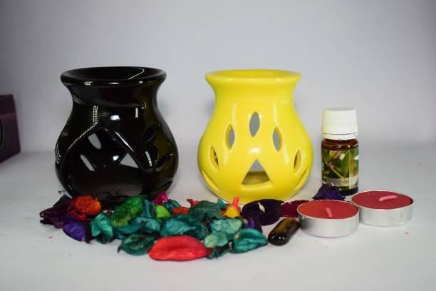 Bright Shop Ceramic Aroma Air Freshner Tea Light Diffuser Combo Pack of 2( Black & Yellow Colour) Leaf Cut Floral Fragrance (10ML) Diffuser Set