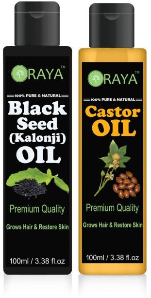 8495628bc39 ORAYA Organic Castor oil and Black seed oil(Kalonji) combo pack of 2 bottles