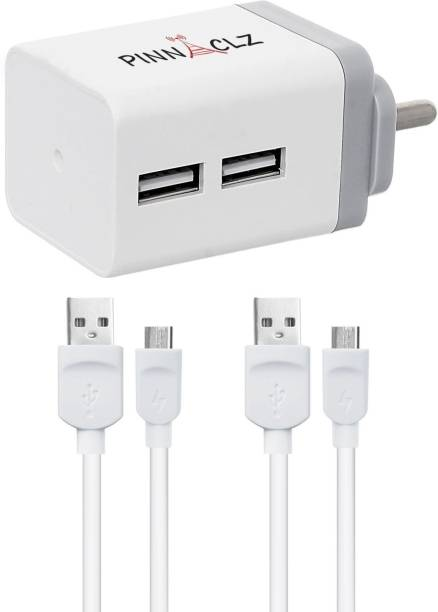 Pinnaclz Combo of Dual USB 2.4 Amp Wall Charger (White-Grey) + 2 pcs 3 Feet Lightening Fast Sync & Charge Micro USB Data Cable 2.4 Amp 2.4 A Multiport Mobile Charger with Detachable Cable