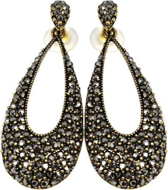 Shinorra Black Drops Earrings Zircon Stainless Steel Drop Earring