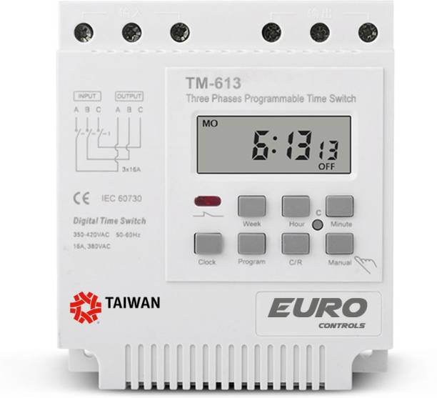 Euro Controls TM613 16A Three Phase Digital Programmable Timer 350-440v AC - Din Mount Programmable Electronic Timer Switch