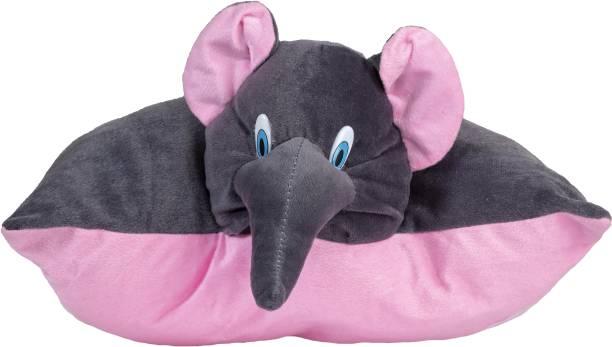 ARD ENTERPRISE Soft stuffed Elephant Black -Pink Color Pillow for kids  - 16 inch