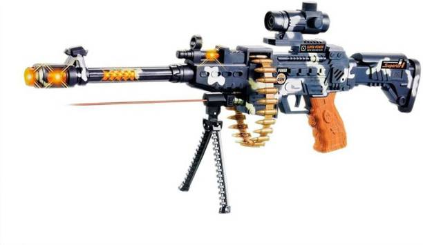AA Musical Army Style Toy Gun for Kids with Music, Lights and Laser Light (Multicolor) Guns & Darts