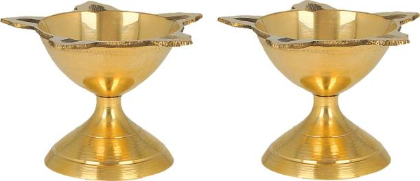 DreamKraft Brass Diwali Deepak (Diya Oil Lamp) for Puja Home Décor (Set of 2) Brass (Pack of 2) Table Diya Set