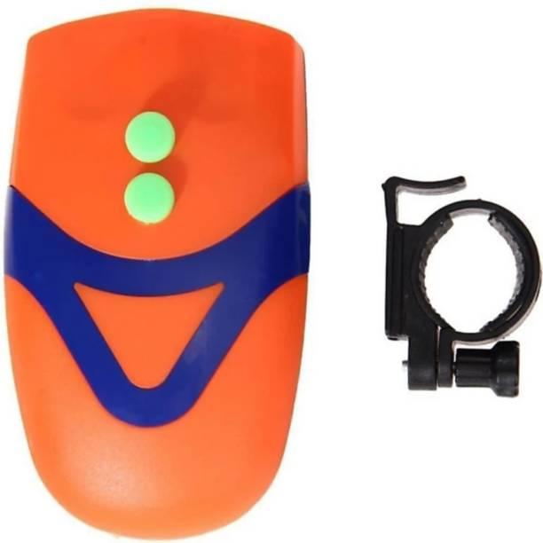 FASTPED CE Standard Bicycle 3 LED 3 Mode Front Head Light & Loud Horn Bell, Orange LED Front Light