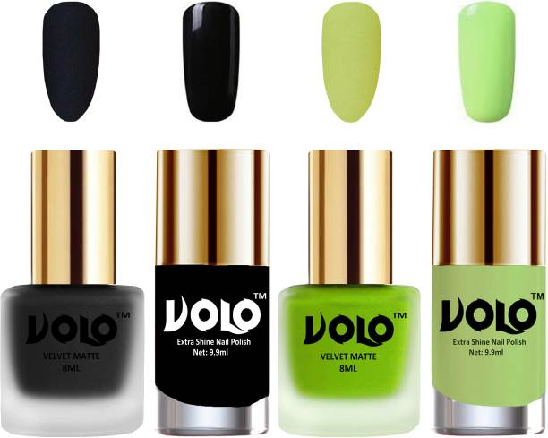 Volo Extra Shine AND Dull Velvet Matte Nail Polish Duo Combo-No-39 Black, Parrot Green