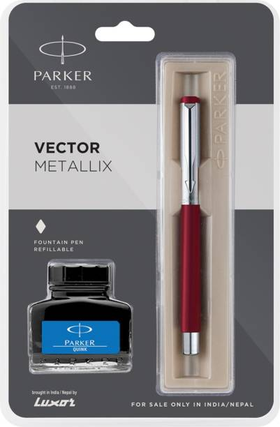 PARKER vector metallix red (f)with quink Fountain Pen