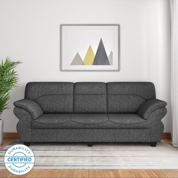 Bharat Lifestyle 107 3 seater Drak Grey Fabric 3 Seater  Sofa