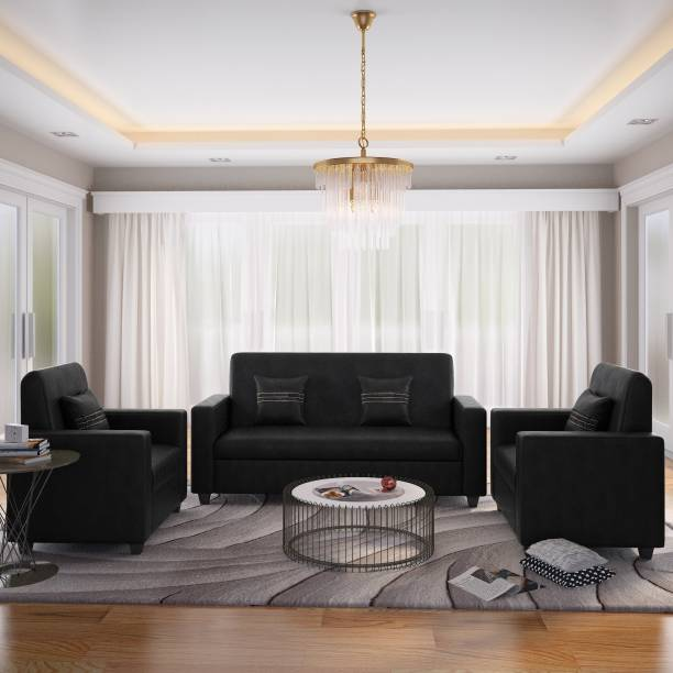Flipkart Perfect Homes Crete Leatherette 3 1 Black Sofa Set