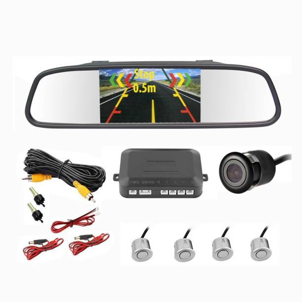 MYTVS TVS-52 Video Reverse Parking Screen,Silver Sensor and Camera with Distance Reading Voice Vehicle Camera System