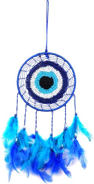 BlankLeaf  Evil Eye Car & Wall Hanging Round Dream Catcher Decorative Showpiece - ( Blue) Wool Dream Catcher