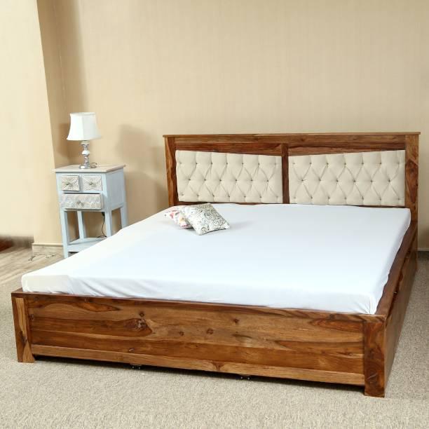 Home Edge Madrid Upholstered Drawer Solid Wood King Bed