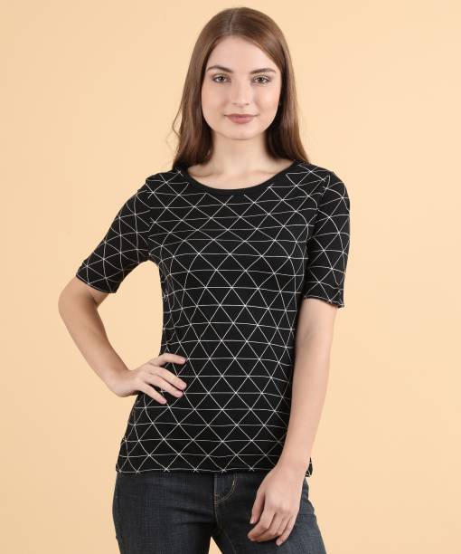 1fcdfcded United Colors of Benetton Casual Half Sleeve Geometric Print Women's Black  Top