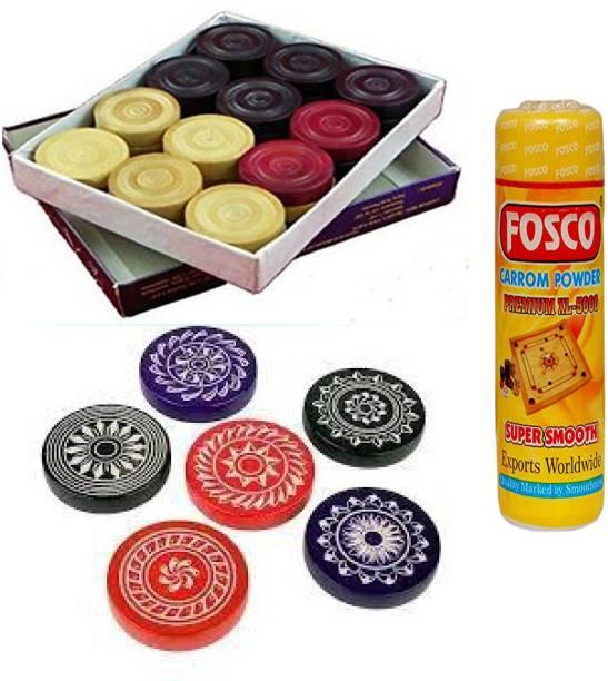 fosco Carrom Combo Q - 250 gm Carrom Powder 1 Set Wooden Carrom-Men Coins & 6 Strikers Carrom Pawns