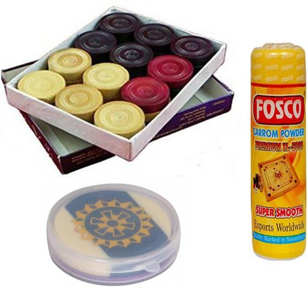fosco Carrom Combo P - 250 gm Carrom Powder 1 Set Wooden Carrom-Men Coins & 1 Striker Carrom Pawns
