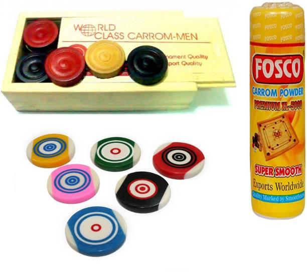 fosco Carrom Combo G - 250 gm Carrom Powder 1 Set Wooden Carrom-Men Coins & 6 Strikers Carrom Pawns