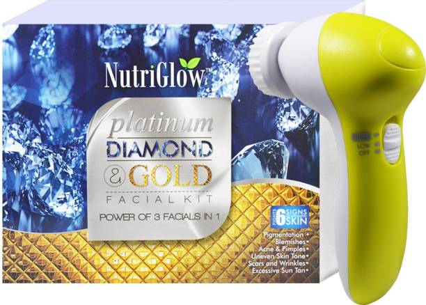NutriGlow Platinum Diamond & Gold Facial Kit With Face Massager Combo