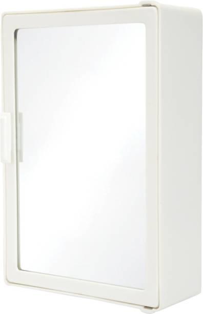 Zahab Style Single Door Mirror Bathroom Cabinet White 10x14 inches Shelf Bracket