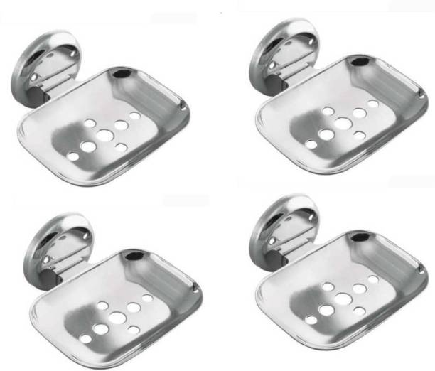 Salonica Bathroom Soap Dish   Soap Holder Stand Stainless Steel Set of 4 PCs