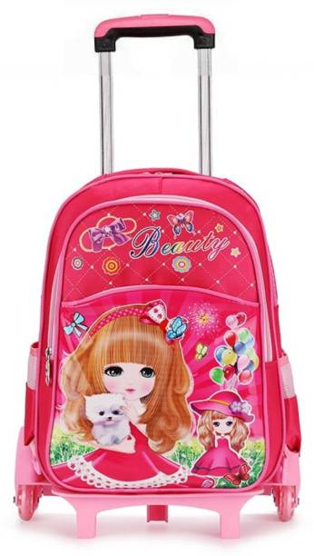 58b105807395 GOCART Barbie Printed Children 2 Wheeled School Trolley Bag Waterproof  Nylon Shoulder Backpack Bag (Pink