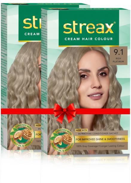 Streax Cream Hair Colour-Pack of 2 , Rich Platinum No-9.1
