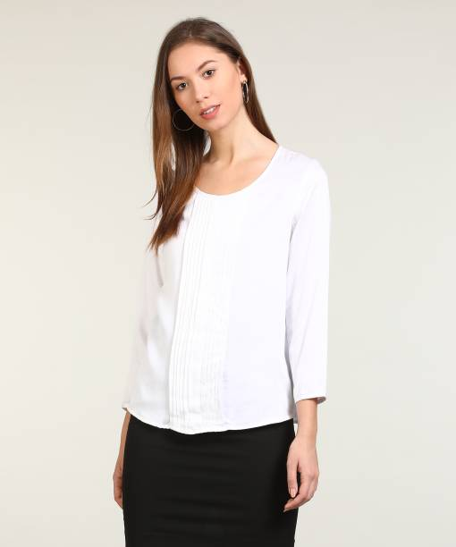 8e0f34488ecf Arrow Casual 3/4th Sleeve Solid Women's White Top