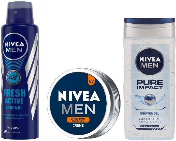 NIVEA (Pure Impact Shower Gel + Fresh Active Deodorant + Dark Spot Reduction Creme)