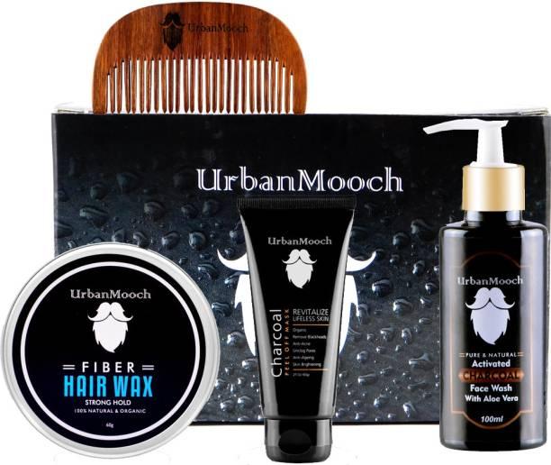 UrbanMooch Men's Grooming Kit Gift Box with Hair Wax, Charcoal Peel Off Mask, Charcoal Face Wash & Shisham Wood Comb Set of 4pcs