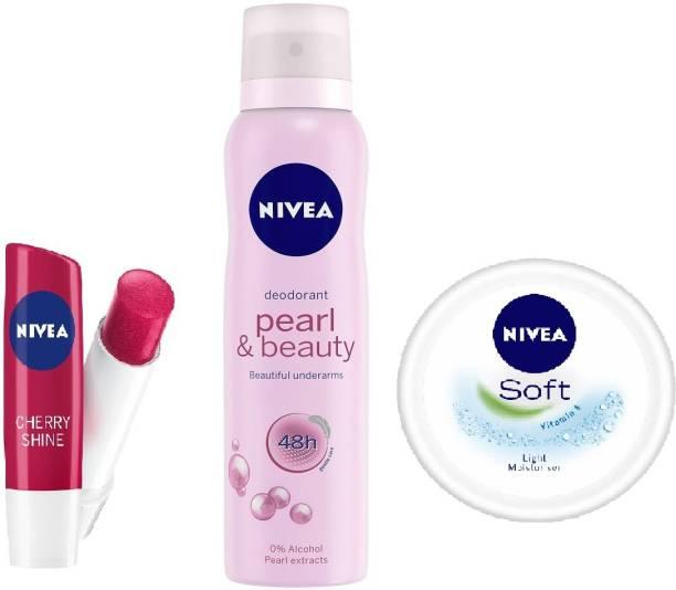 NIVEA (Pearl & beauty Deodorant + Cherry shine Lip Balm + Soft Cream)