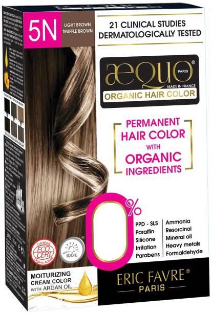 Aequo Organic Women 5N Light Brown Hair Colour-170ml- Derma Certified , Light Brown