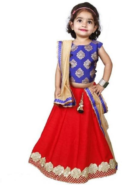 d674dcd5c8 Rohi Baby Girl's Lehenga Choli Party Wear Printed Lehenga, Choli and  Dupatta Set