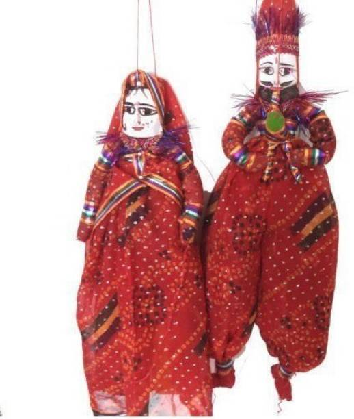 Jaipuri Craft Handcrafted Colorful Wooden Face String Puppet Kathputli in Pair(Male & Female) Marionettes