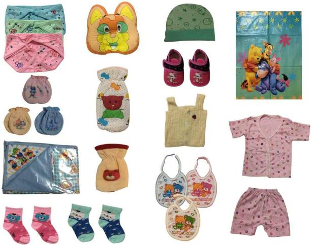 Cute Collection Set of 21 Daily Use Essential Items for New Born Baby (0-6 Months)