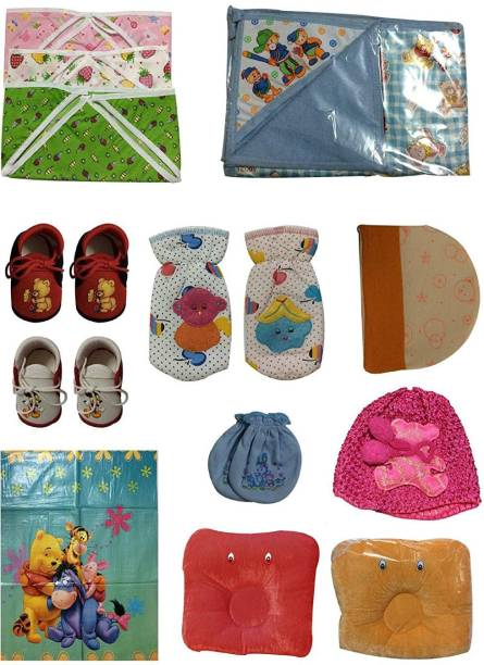 Cute Collection Combo of 14 Items for New Born Baby (0-6 Months)