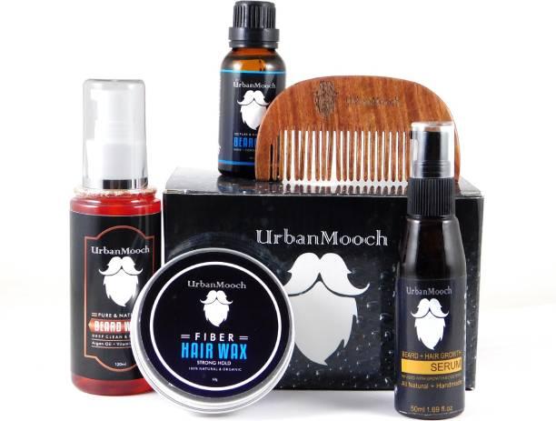UrbanMooch Ultimate Beard Grooming Kit For Men - Beard Wash, Beard Oil, Beard Growth Serum, Hair Wax & Shisham Wood Beard Comb - Best Gift Set