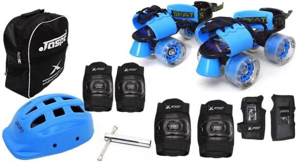 Jaspo Blue Derby Pro Adjustable Senior Roller Skates Combo Suitable for Age Group 6 to 14 Years Skating Kit