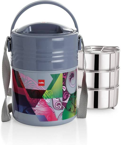cello Stainless Steel 355ml, GREY 3 Containers Lunch Box