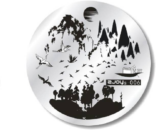 Imported ZJOY Round Nail Art Stamping Image Plate Flower Birds Hills Landscape Tree Layered 006
