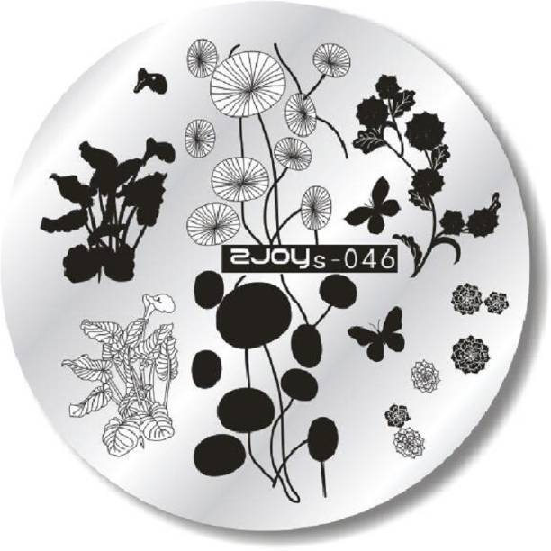 Imported ZJOY Round Nail Art Stamping Image Plate Flower Butterfly Layered 046