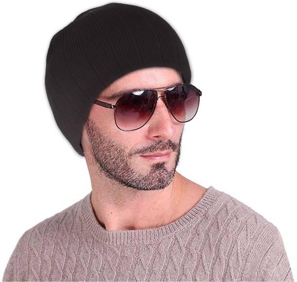 2c63a616557 DRUNKEN Striped Winter Cap Woolen Plain Lining Beanie Skull Cap Navy  Freesize Warm Cap Cap