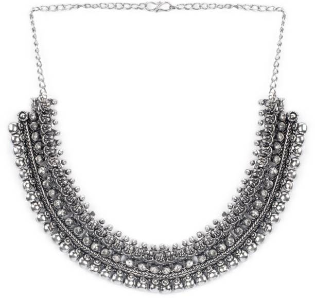 8bd95e8bb0 Rubans Rubans Oxidised Silver Toned Handcrafted Traditional Necklace Silver  Plated Metal Necklace
