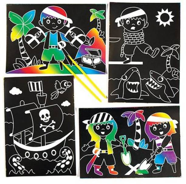 a1a87e7f693 Baker Ross Pirate Scratch Art Scenes for Children to Design Make and  Display - Creative Picture