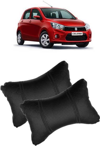 Shoolin Black Leatherite Car Pillow Cushion for Maruti Suzuki