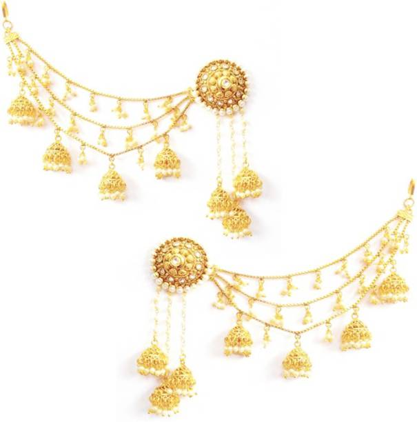 Panachee Baahubali Inspired One Gram Gold Multilayer Long Statement Drop Tel Jhumki Chandbali Meenakari Jhumka Earrings