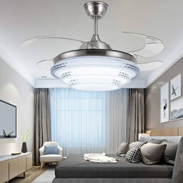 Kanz Enterprises Designer Modern Imported K-526 with LED Light & Remote Control, Lookalike Chandelier Lamp, Transparent Acrylic Retractable 4 Blade Ceiling Fan