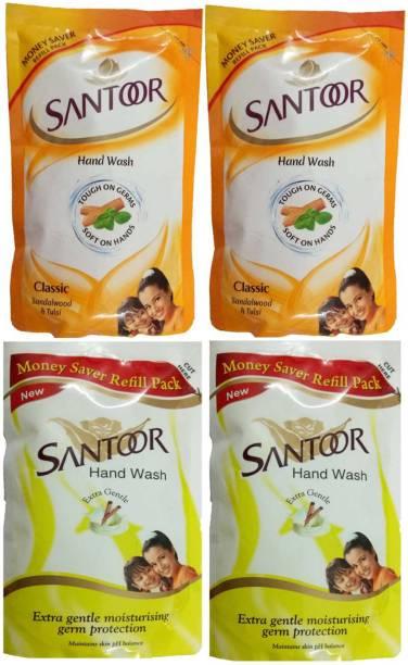 santoor Hand Wash Sandalwood & Tulsi + Extra Gentle Moisturising Germ Protection 180ml x 4 Hand Wash Pouch