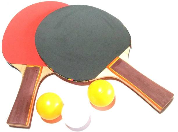 MK 2 Table Tennis with 3 Balls Red, Green, Black Table Tennis Racquet