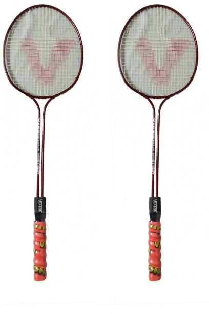 fa1310a76ee vipson Double Rod Badminton Racquet Set Full Size For Boys And Girls  Multicolor Strung Badminton Racquet