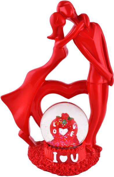 ARCHIES Love Couple Showpiece with Crystal Glass Lobe, Red Color, Polyresin Material, SIZE, 1 Pc Set Decorative Showpiece  -  24.5 cm