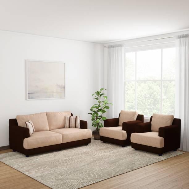 Bharat Lifestyle Marina Fabric 3 + 1 + 1 Dark Brown and Cream Sofa Set